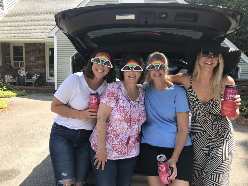the ladies, quitting alcohol, quitting drinking, getting sober, hardest part of quitting alcohol, fab 4, drinking buddies, women, rainbow glasses, fun glasses, girls trip, girls weekend