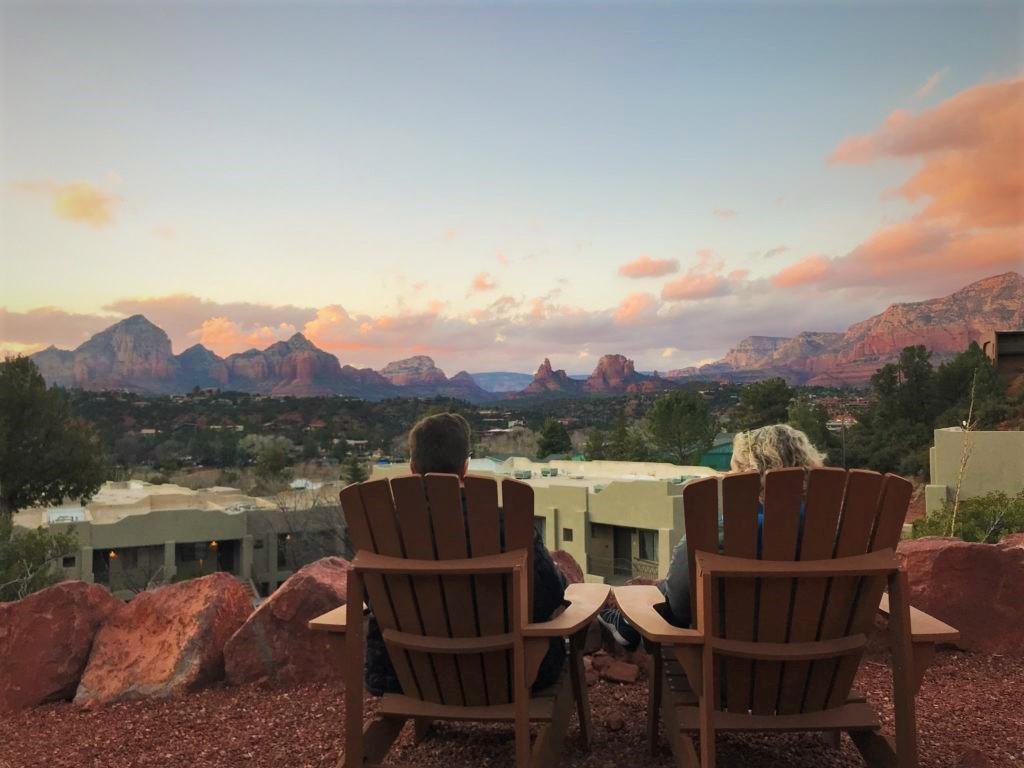 Sunset over red rocks, Sedona, AZ. Viewpoint from Arabella Hotel, Sedona, AZ