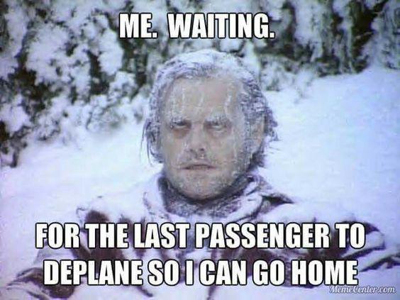 Meme about flight attendant pet peeve.