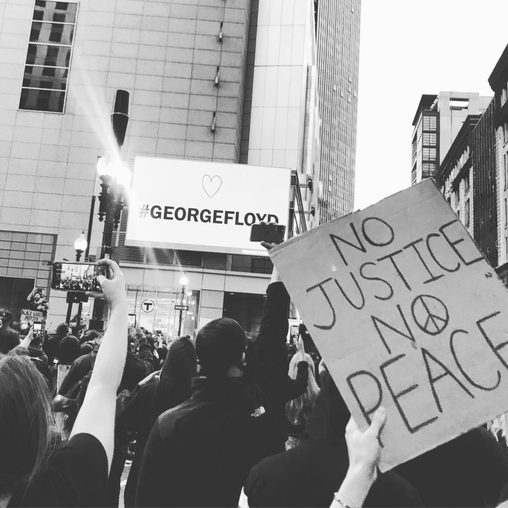 Activists march for George Floyd & Black Lives Matter in Boston, MA.