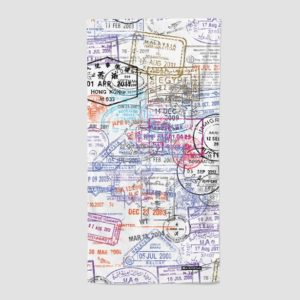 aviation themed beach towel with passport stamps