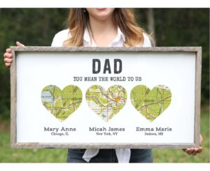 customized map print, gift idea for the on the go dad
