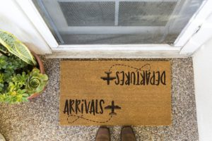 arrivals, departure doormat, aviation themed home decor, aviation themed gifts, travel themed gifts, gifts for flight attendants, gifts for pilots