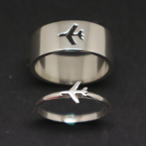 plane rings, plane jewelry, aviation jewelry, flight attendant gifts, pilot gifts, couple gift, travel