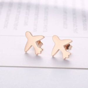 airplane earrings, rose gold, travel inspired jewelry, airplane jewelry, jewelry for flight attendants, jewelry for pilots