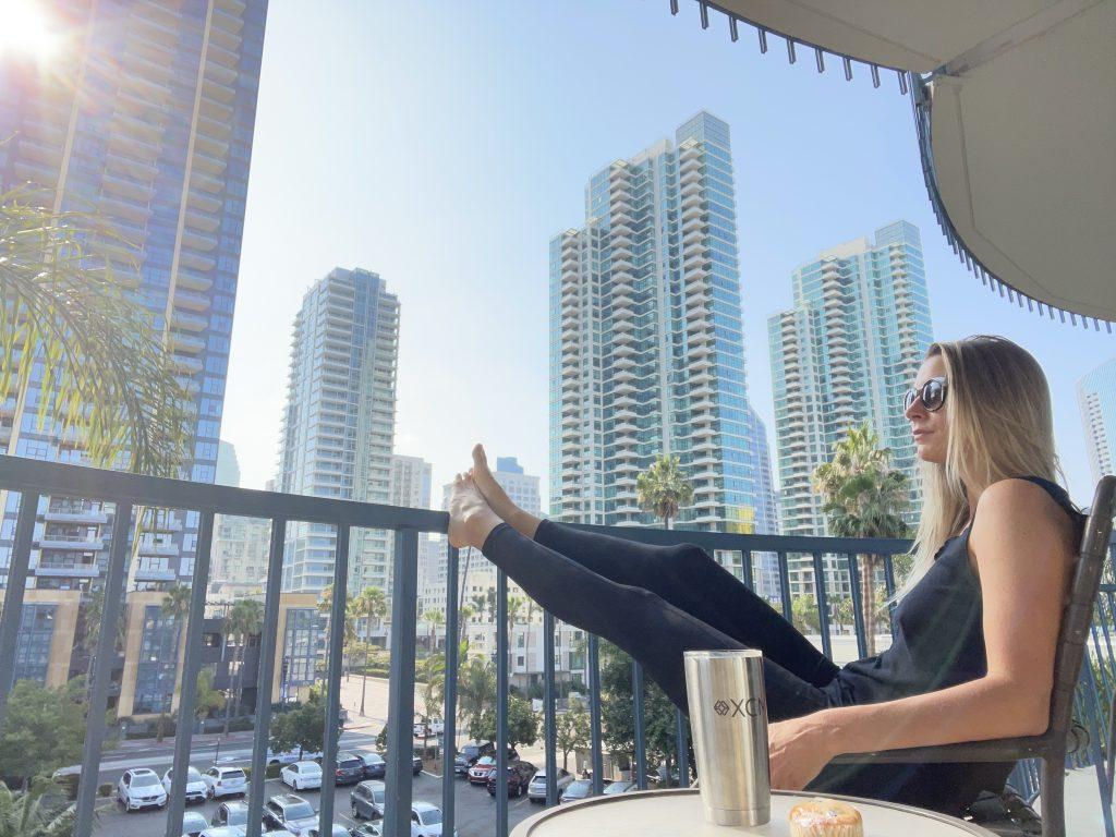 san diego, california, san diego travel,gratitude, balance, flight attendant life, relax, free time, flight attendant, hotel, balcony, san diego, california, work life balance